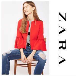 Zara Ruffled Sleeve Jacket